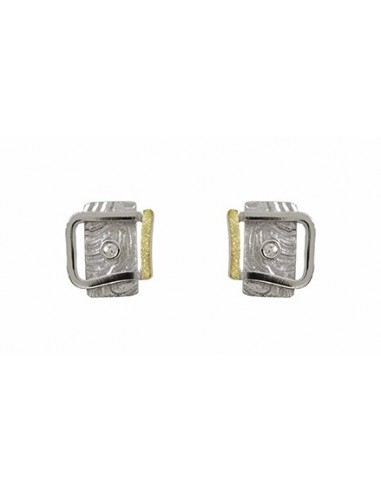PENDIENTES DE PLATA, OR I BRILLANTS DE 0.030 CT